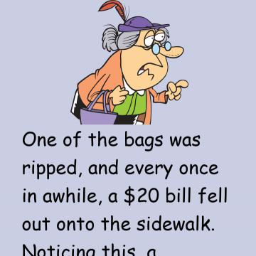 A Little Old Lady Dropping Money As She Walks