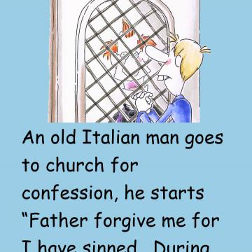 An Old Italian Man Goes To Church For Confession