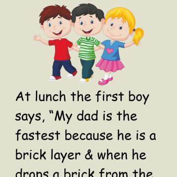 Three Kids Are Arguing About Who's Dad Is The Fastest.